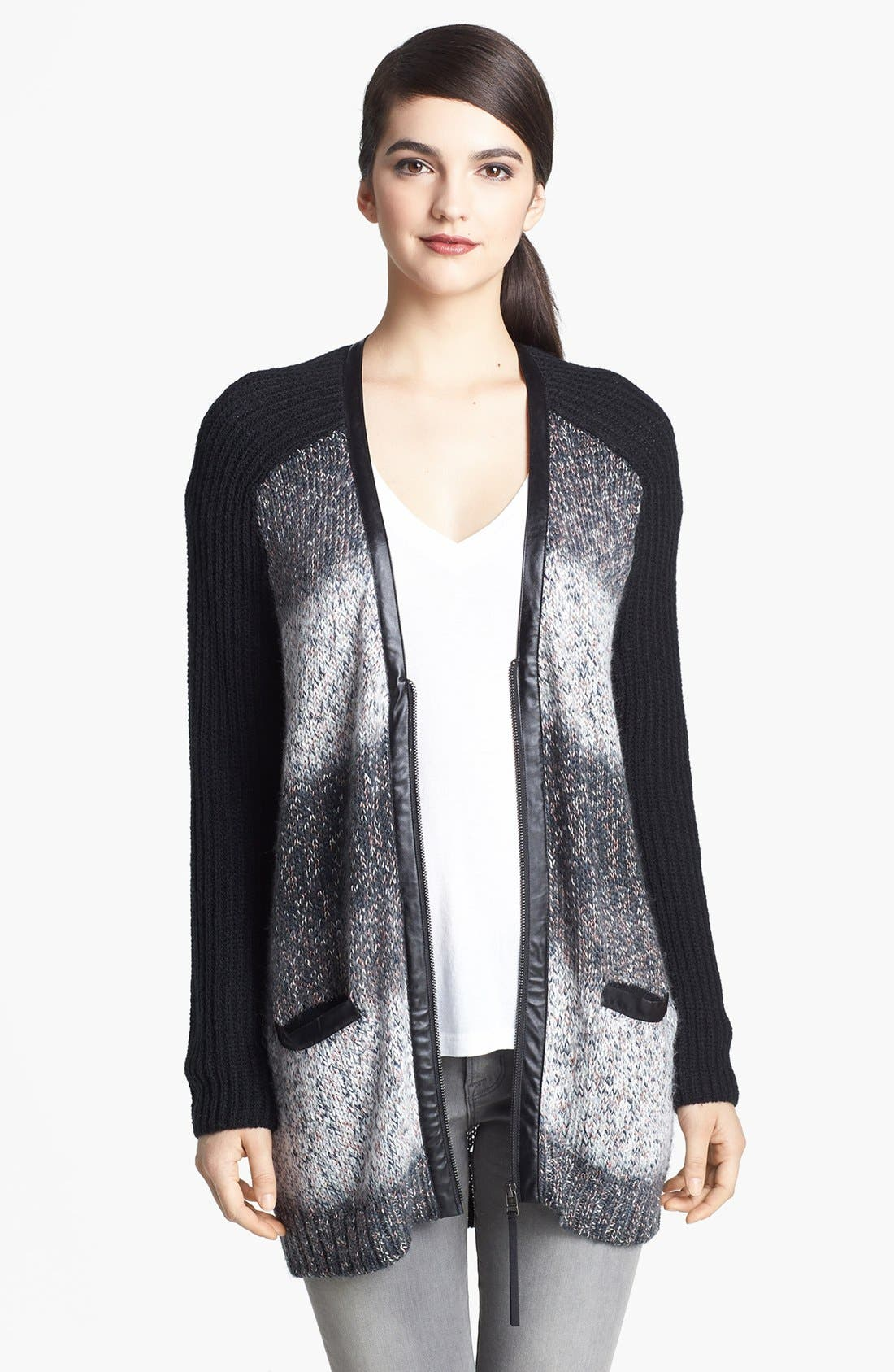 Faux Leather Trim Two Tone Cardigan,                         Main,                         color, Ombre Grey Combo