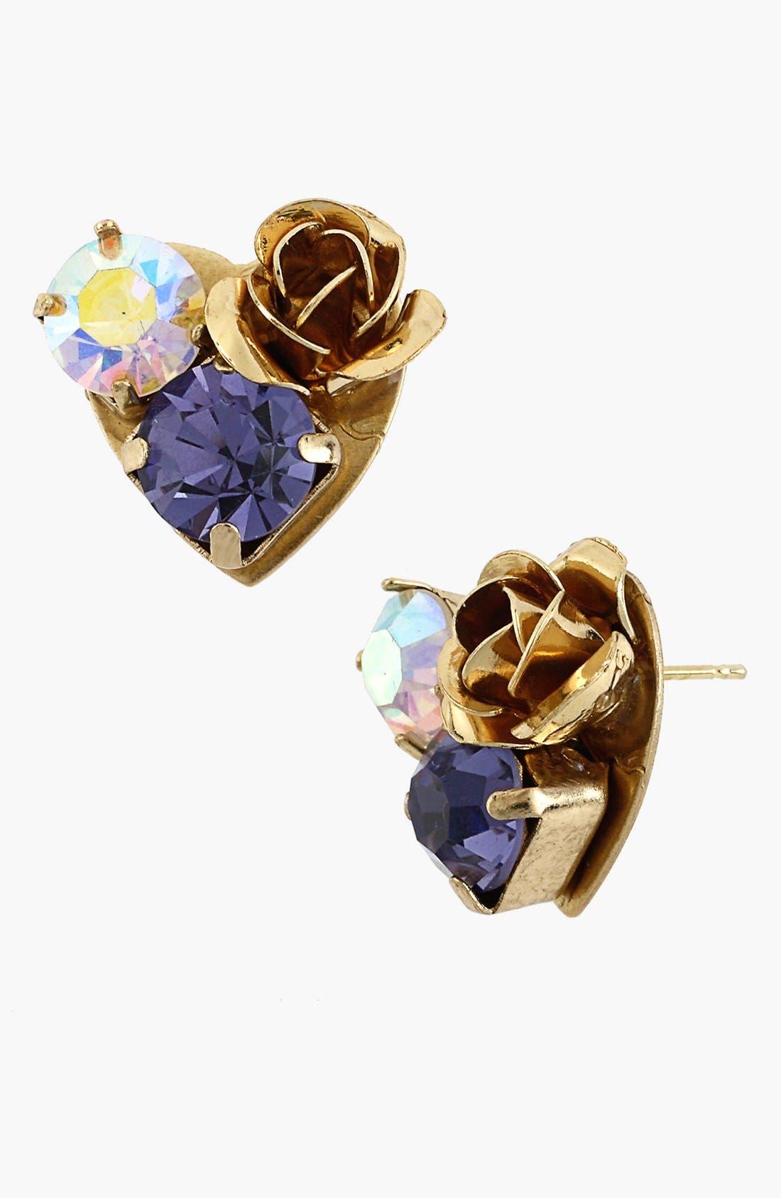 Alternate Image 1 Selected - Betsey Johnson 'Imperial' Rose Heart Stud Earrings