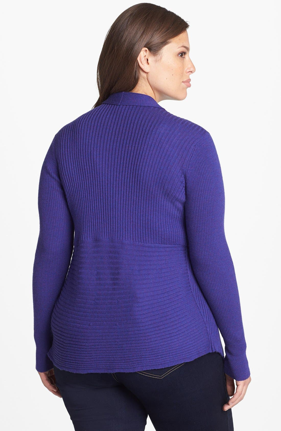 Alternate Image 2  - Eileen Fisher Angle Front Shaped Cardigan (Plus-Size)