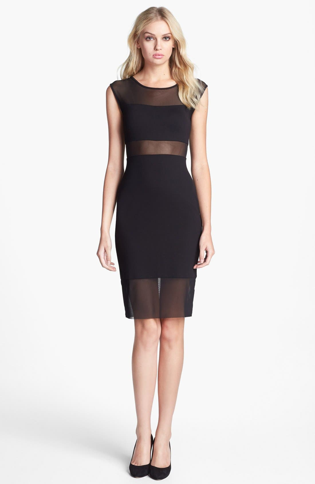 Alternate Image 1 Selected - Bailey 44 'Decompression' Mesh Stripe Sheath Dress