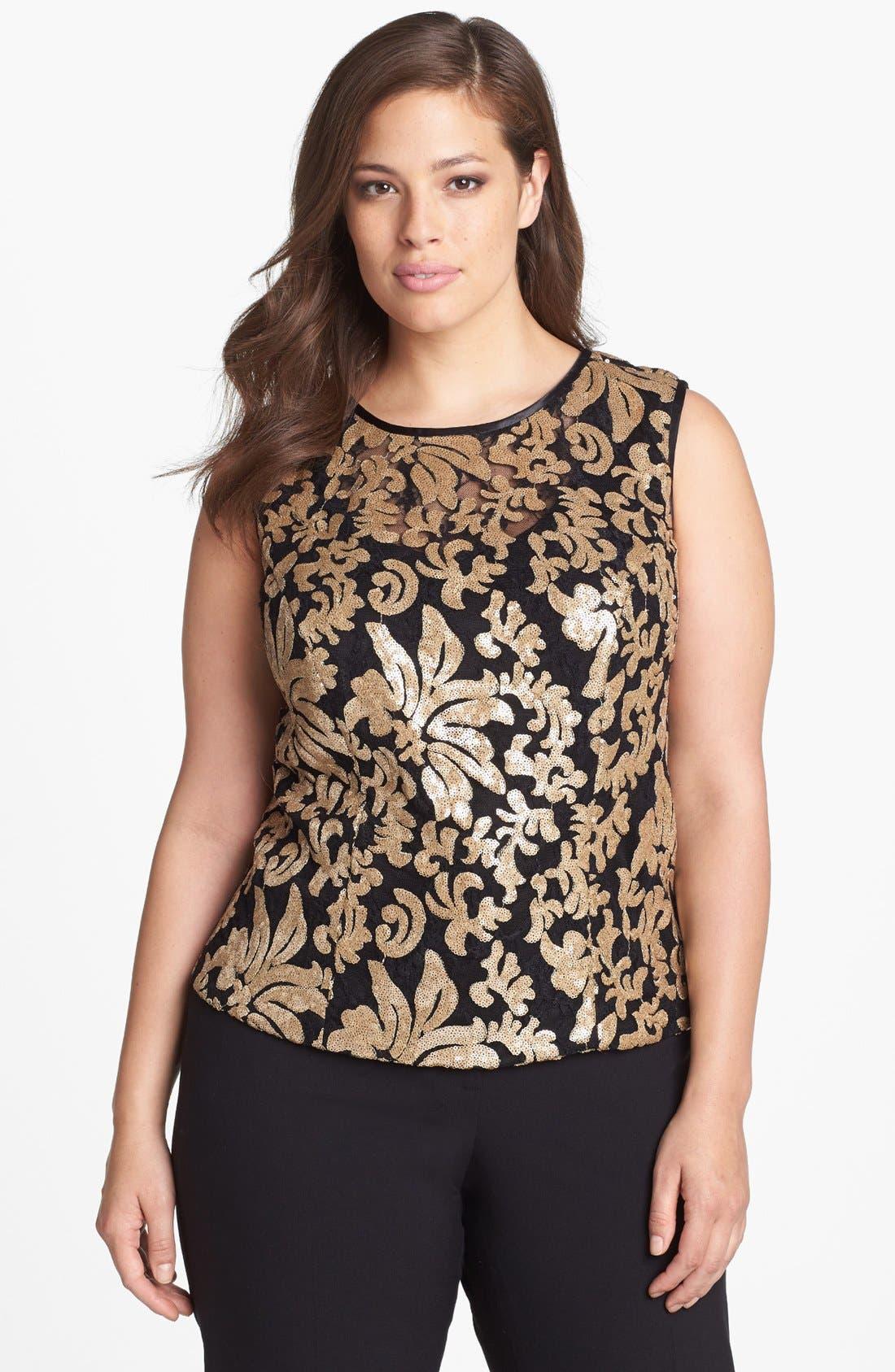 Main Image - Alex Evenings Sequin Lace Sleeveless Blouse (Plus Size)