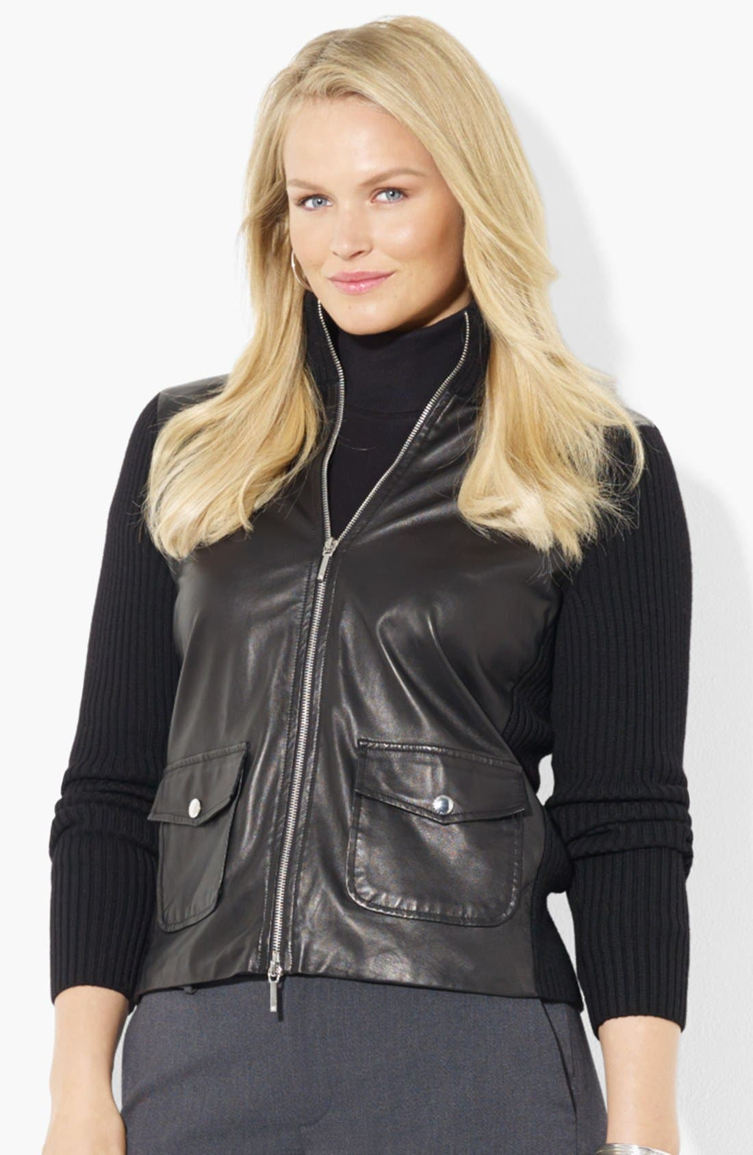 Alternate Image 1 Selected - Lauren Ralph Lauren Leather Front Cardigan (Plus Size)