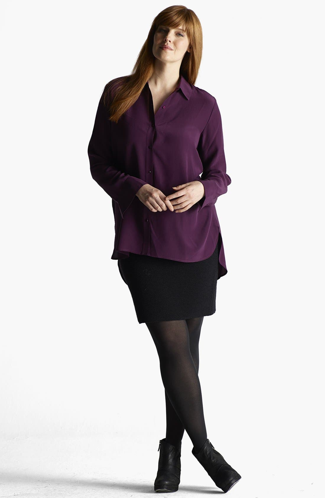 Alternate Image 4  - Eileen Fisher Side Slit Silk Tunic (Plus Size)