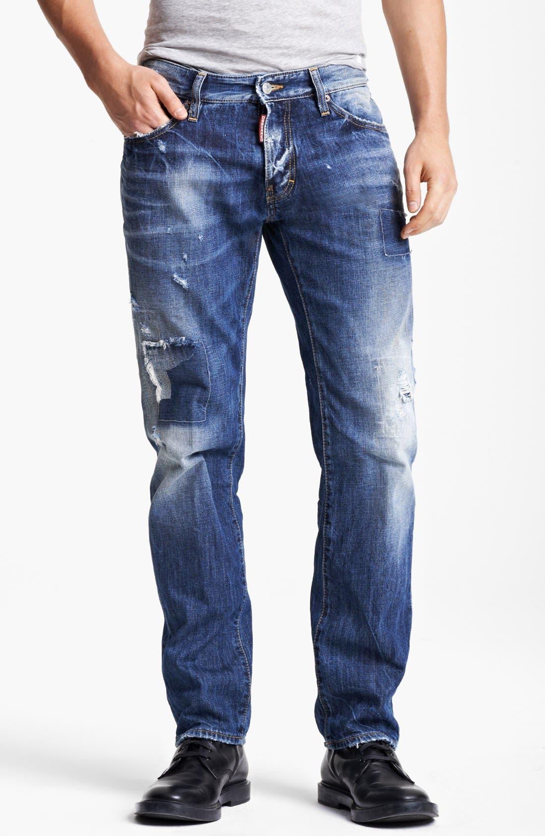 Alternate Image 1 Selected - Dsquared2 'Dean' Slim Fit Jeans (Distressed Blue)