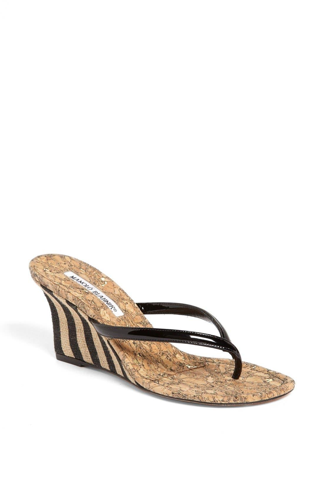 Alternate Image 1 Selected - Manolo Blahnik 'Pat' Wedge Sandal