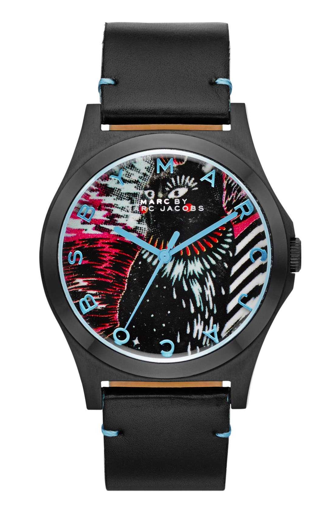Alternate Image 1 Selected - MARC BY MARC JACOBS 'Hattie' Leather Strap Watch, 40mm
