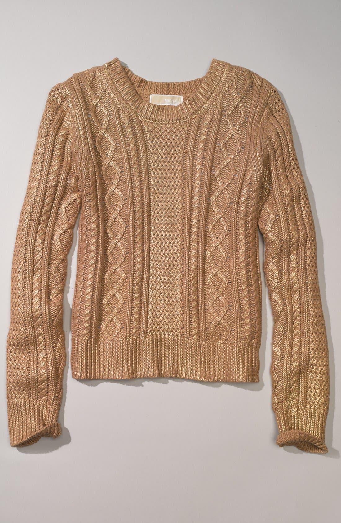 Alternate Image 4  - MICHAEL Michael Kors Foiled Cable Knit Cotton Blend Sweater