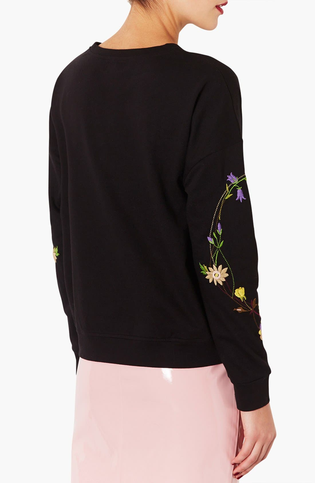 Alternate Image 2  - Topshop Embroidered Floral Sweatshirt