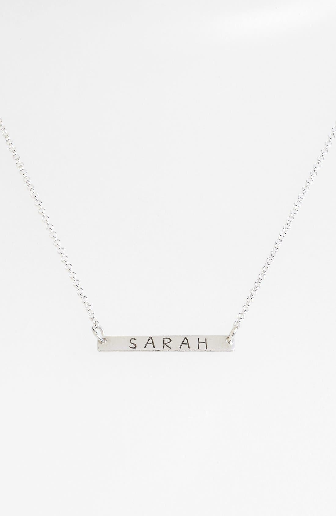 Personalized Bar Necklace,                             Main thumbnail 1, color,                             Silver