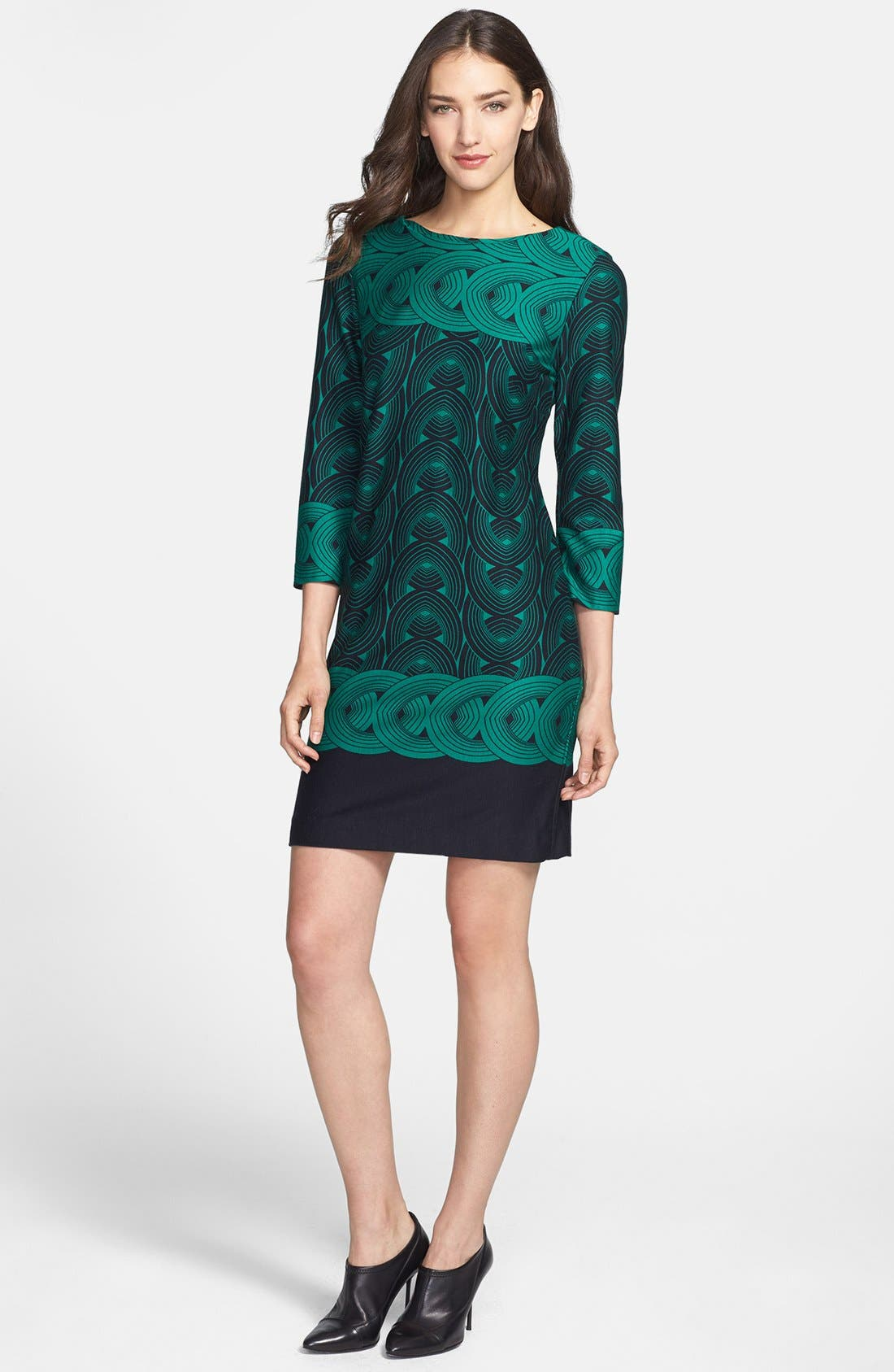 Main Image - Taylor Dresses Graphic Print Ponte Shift Dress