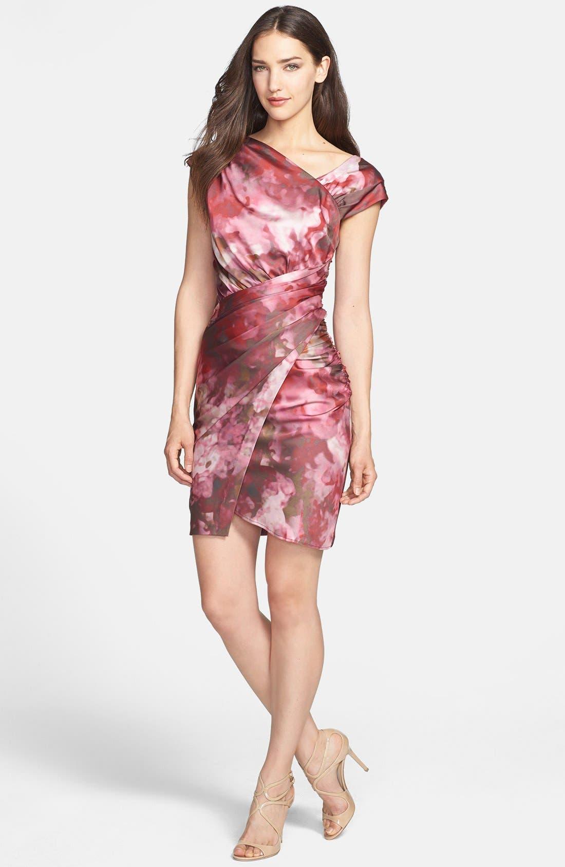 Main Image - Vera Wang Print Asymmetrical Crepe Sheath Dress