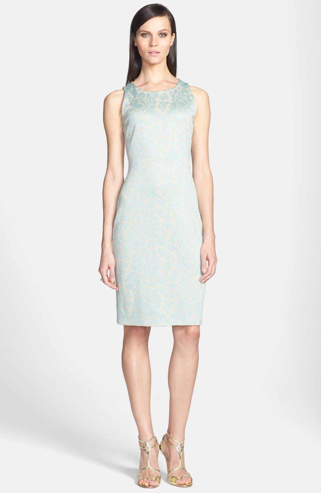Main Image - St. John Collection Metallic Floral Jacquard Knit Sheath Dress