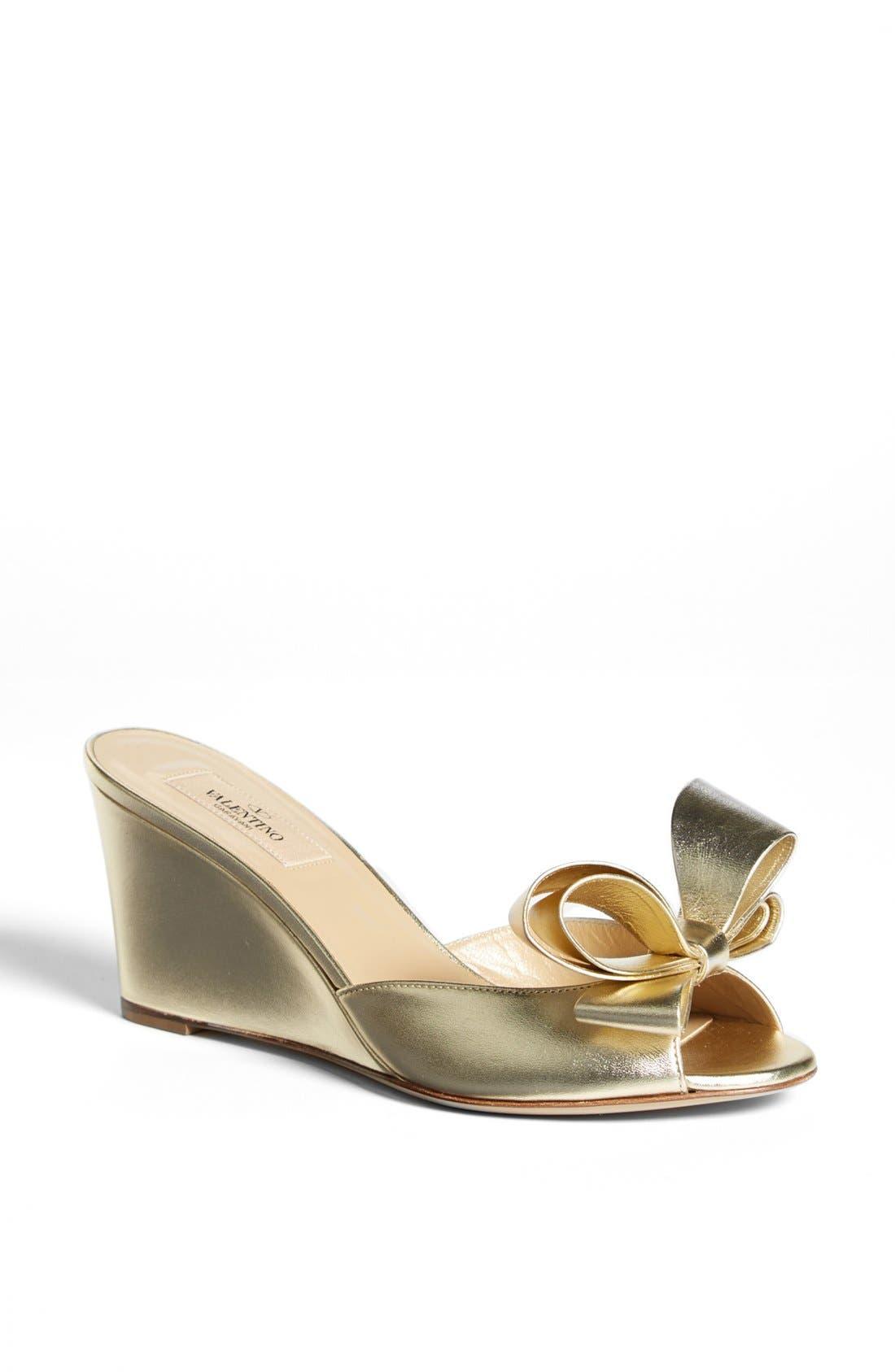 Main Image - VALENTINO GARAVANI Bow Wedge Sandal