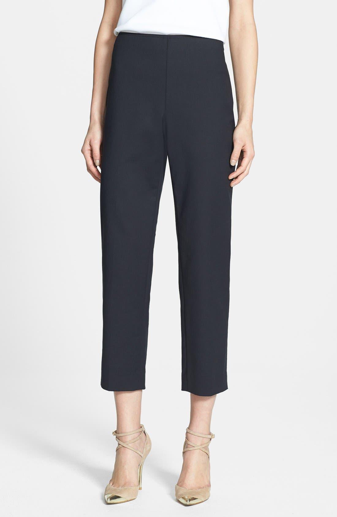 Main Image - St. John Yellow Label 'Audrey' Double Weave Stretch Cotton Capri Pants
