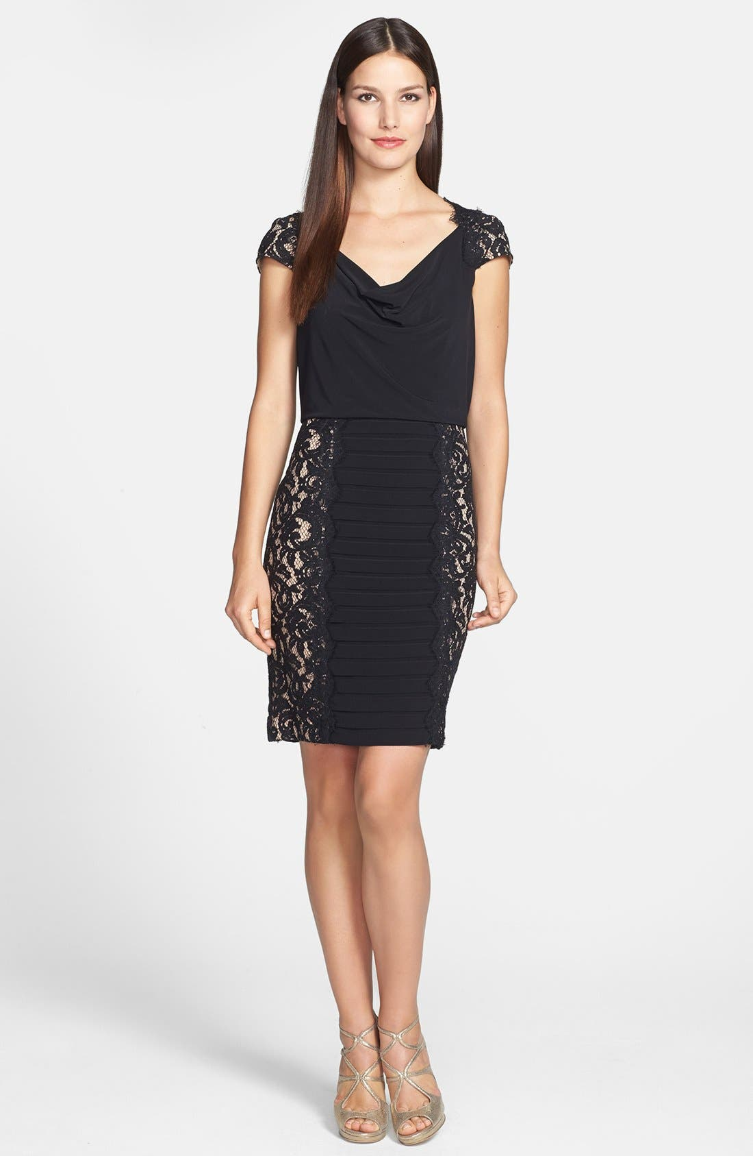 Alternate Image 2  - Adrianna Papell Lace Panel Banded Blouson Jersey Dress