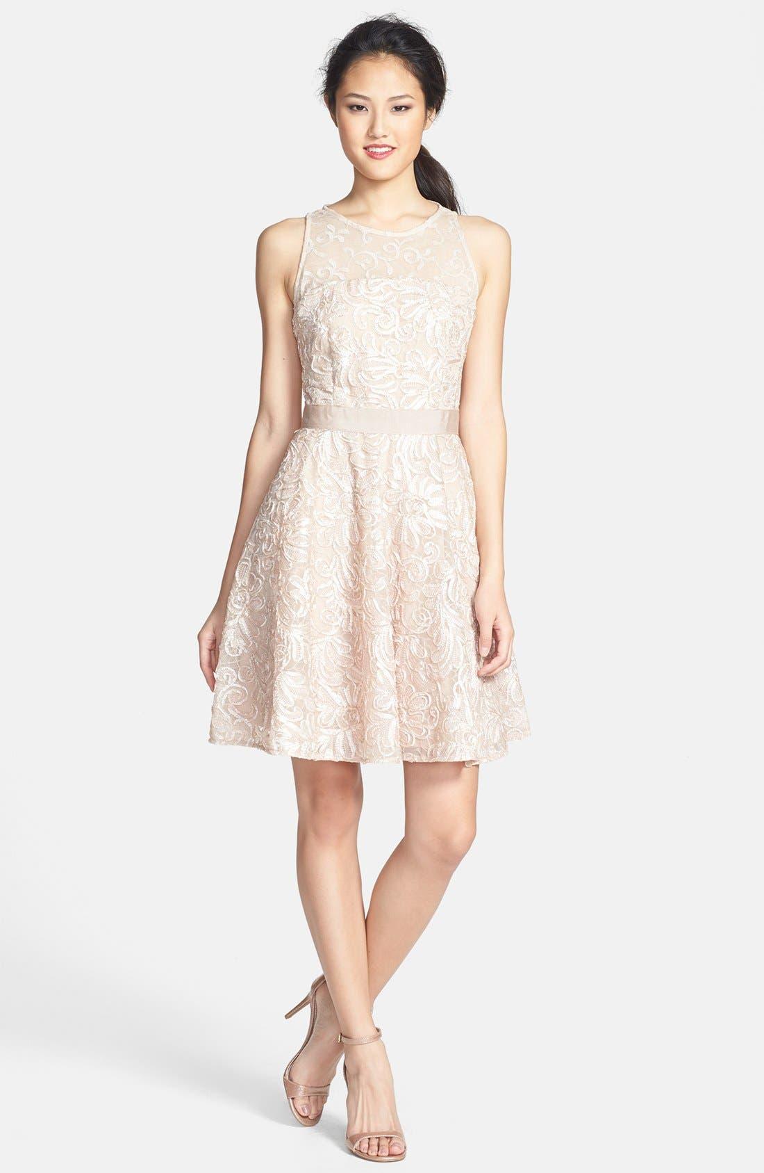 Alternate Image 1 Selected - Taylor Dresses Soutache Lace Fit & Flare Dress