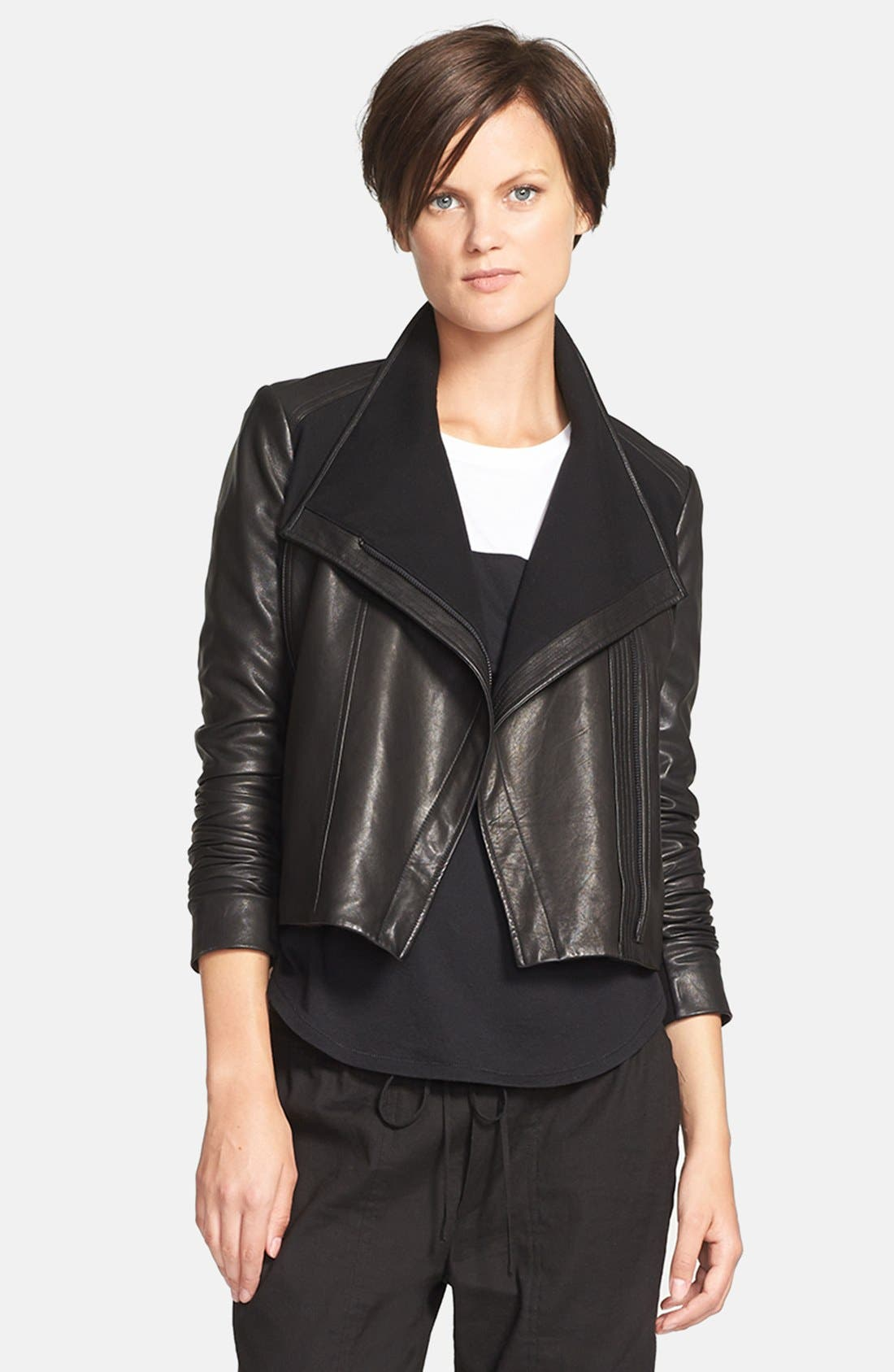 Main Image - Vince Side Zip Leather Jacket with Ponte Contrast
