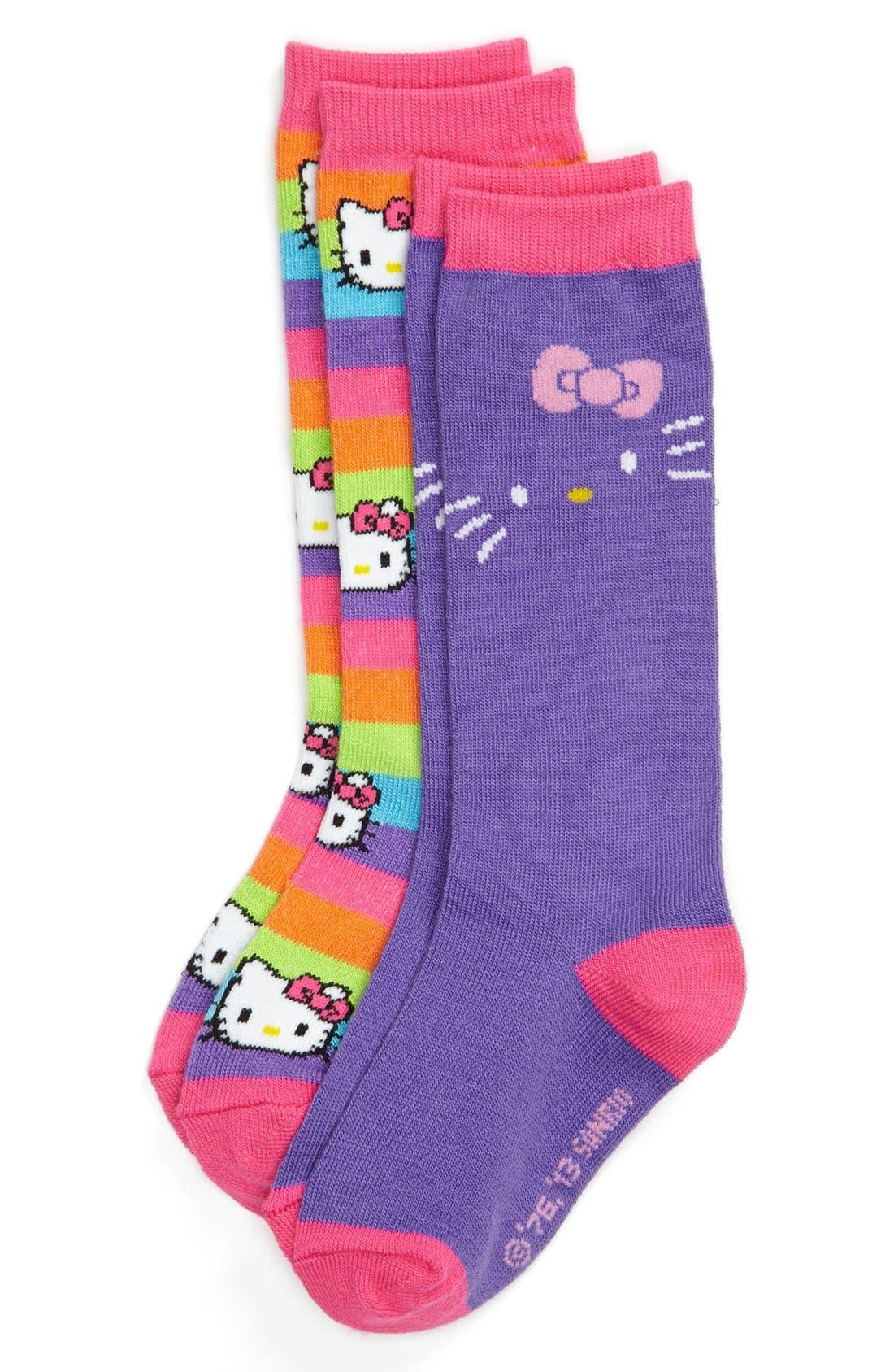Alternate Image 1 Selected - Hello Kitty® Rainbow Stripe Knee High Socks (Toddler Girls & Little Girls) (2-Pack)