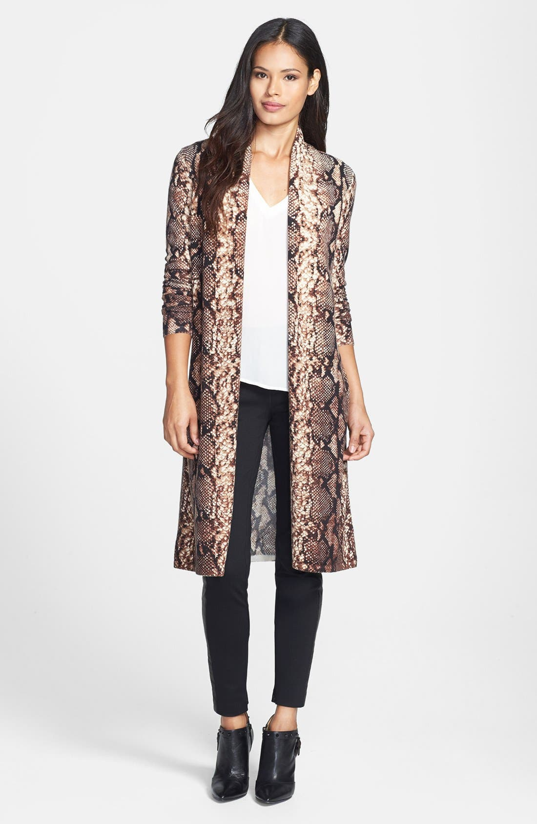 Alternate Image 1 Selected - Sofia Cashmere Python Print Cashmere Duster
