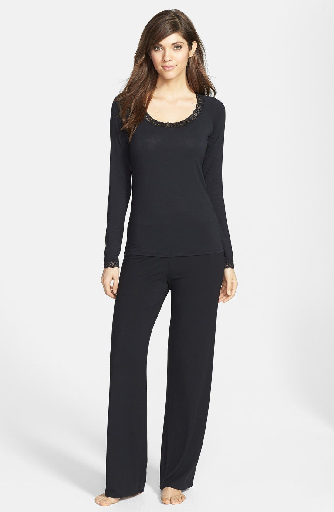 Main Image - Natori 'Feathers' Lace Trim Pajamas