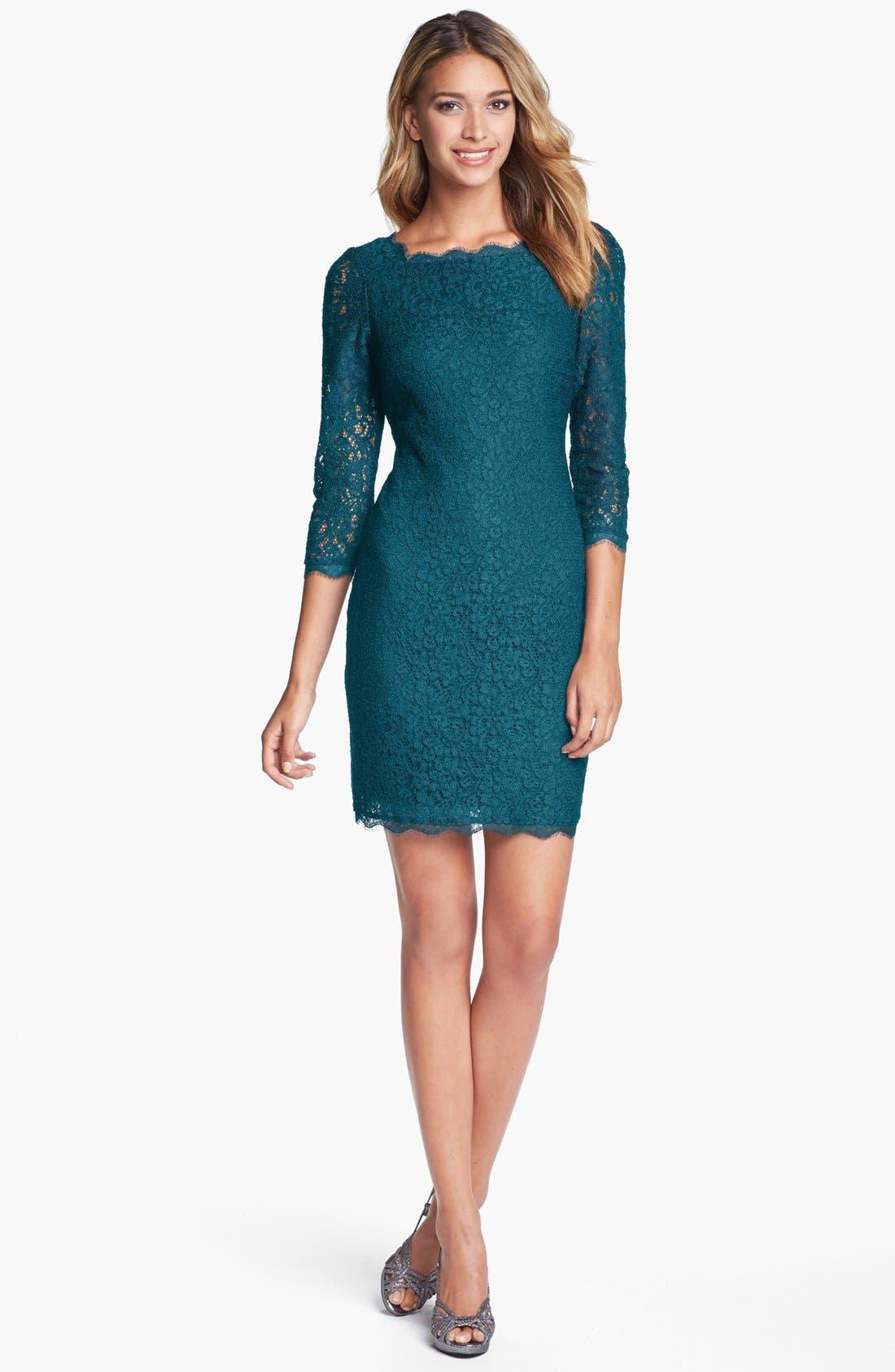 Lace Overlay Sheath Dress,                         Main,                         color, Hunter Green
