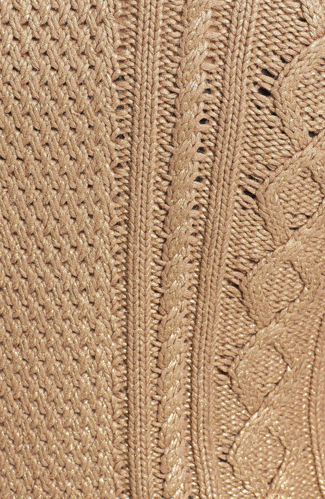 Alternate Image 3  - MICHAEL Michael Kors Foiled Cable Knit Cotton Blend Sweater