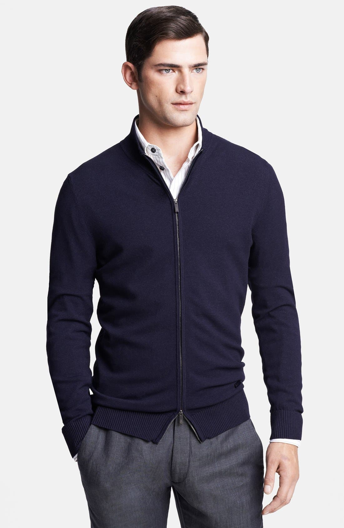 Alternate Image 1 Selected - Armani Collezioni Mock Neck Zip Sweater