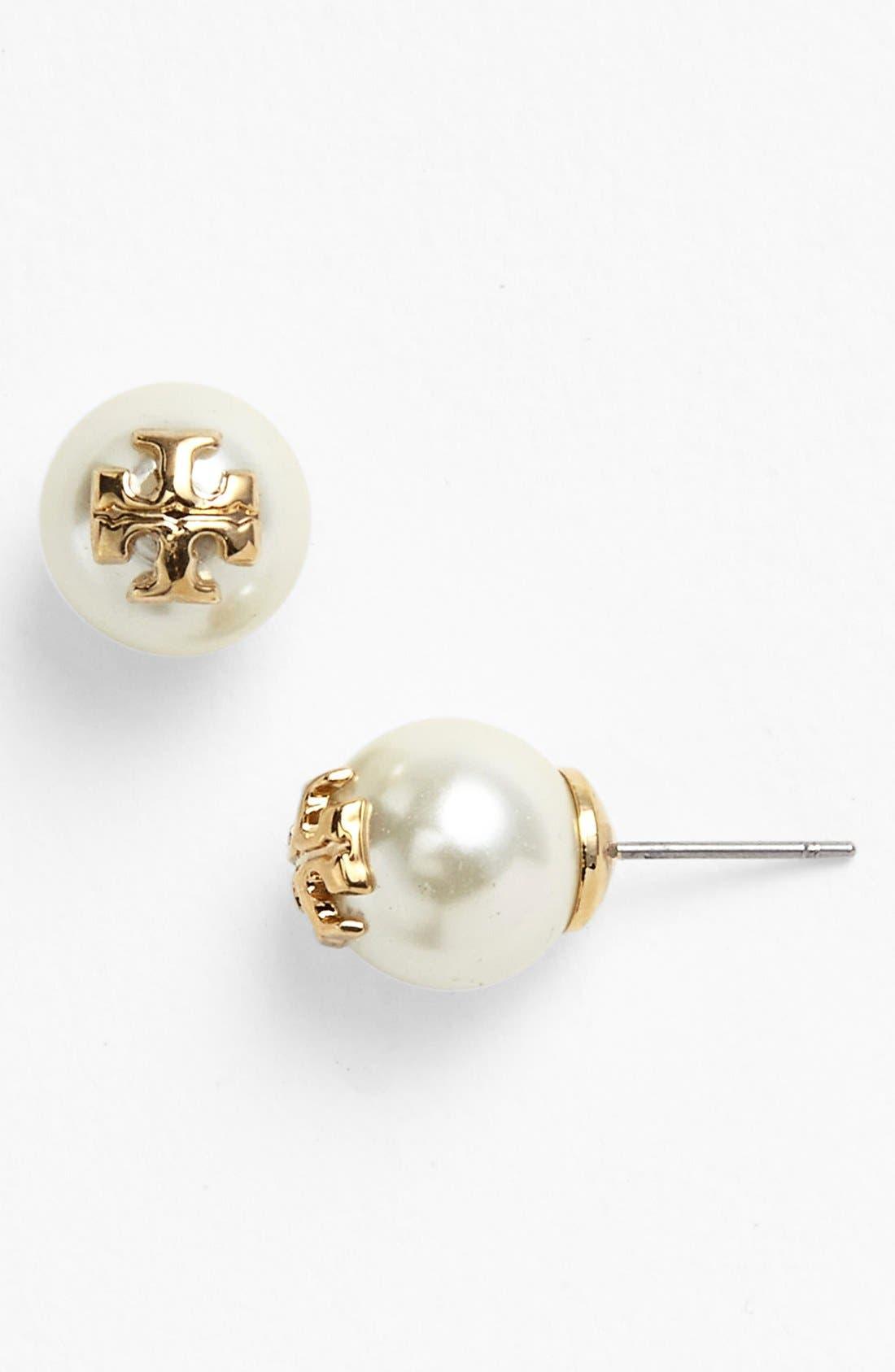 Alternate Image 1 Selected - Tory Burch 'Evie' Swarovski Crystal Pearl Earrings