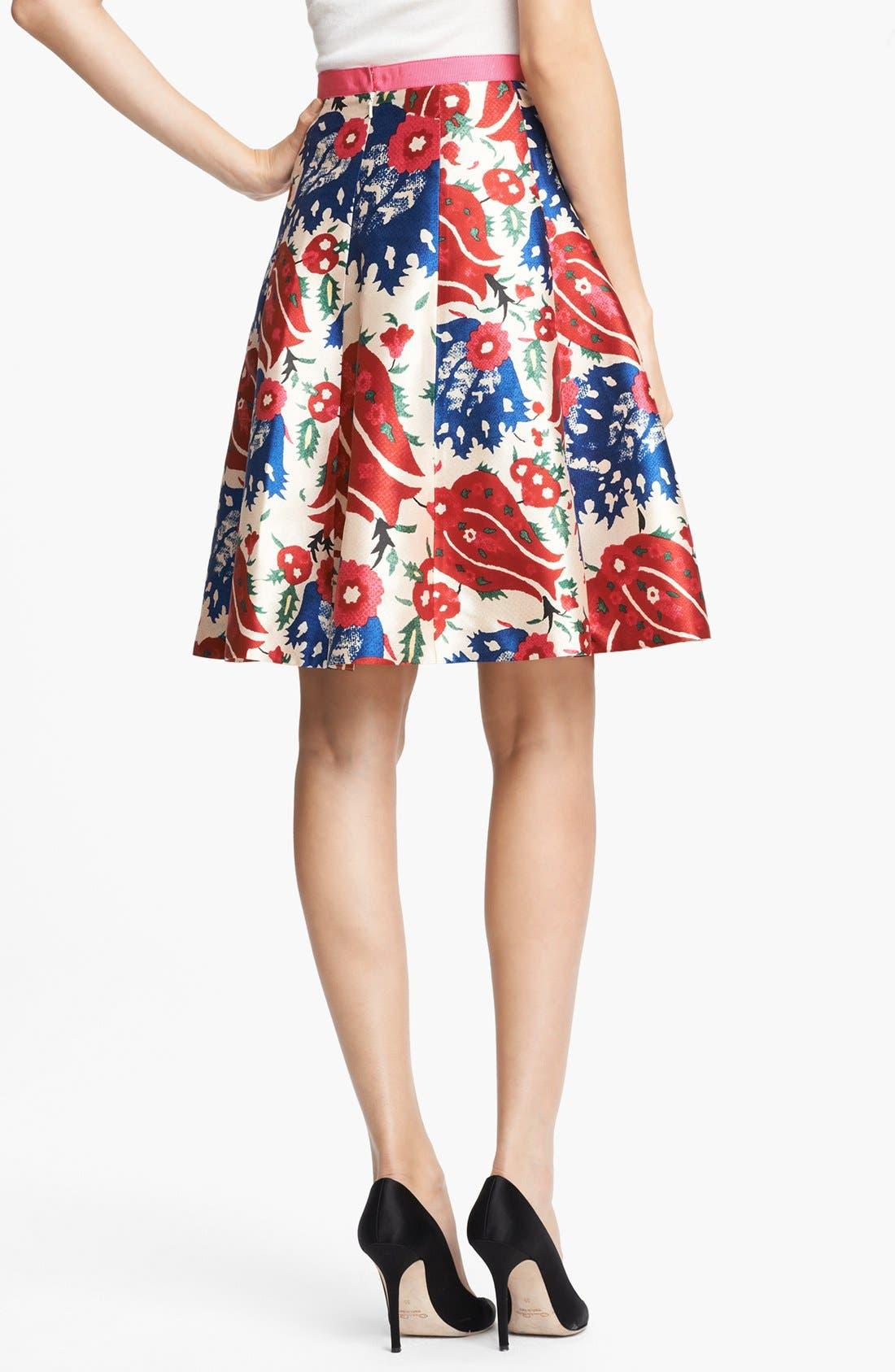 Alternate Image 2  - Oscar de la Renta Floral Print Full Skirt