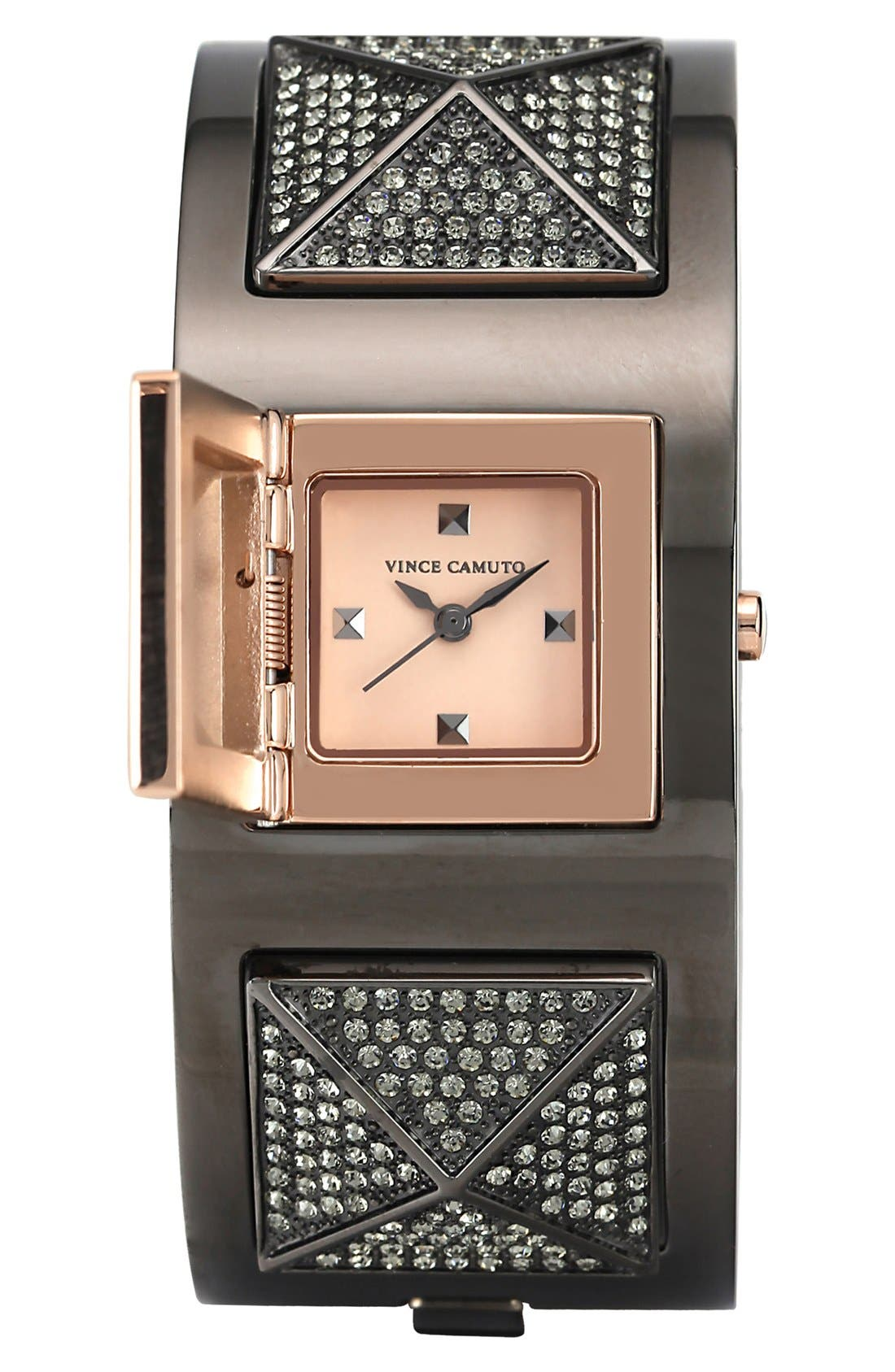 Alternate Image 2  - Vince Camuto Pyramid Case Crystal Accent Bangle Watch, 20mm