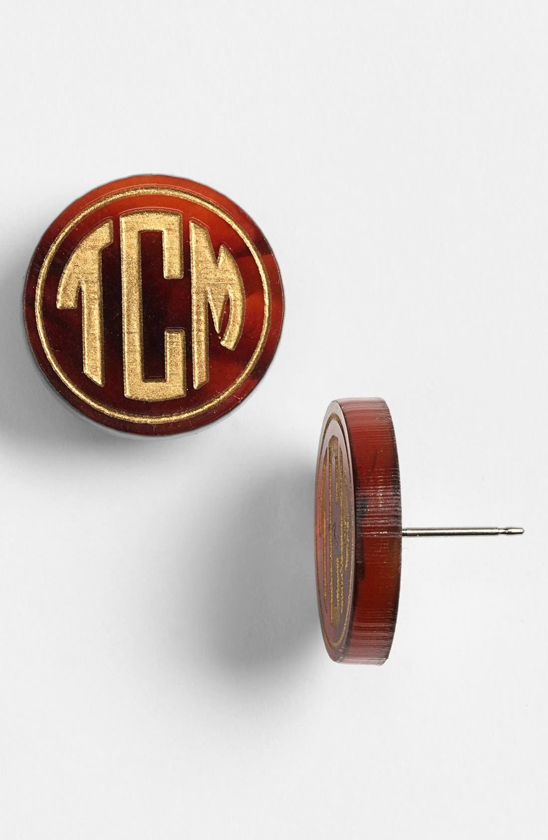 'Chelsea' Medium Personalized Monogram Stud Earrings,                             Main thumbnail 1, color,                             Tortoise/ Gold