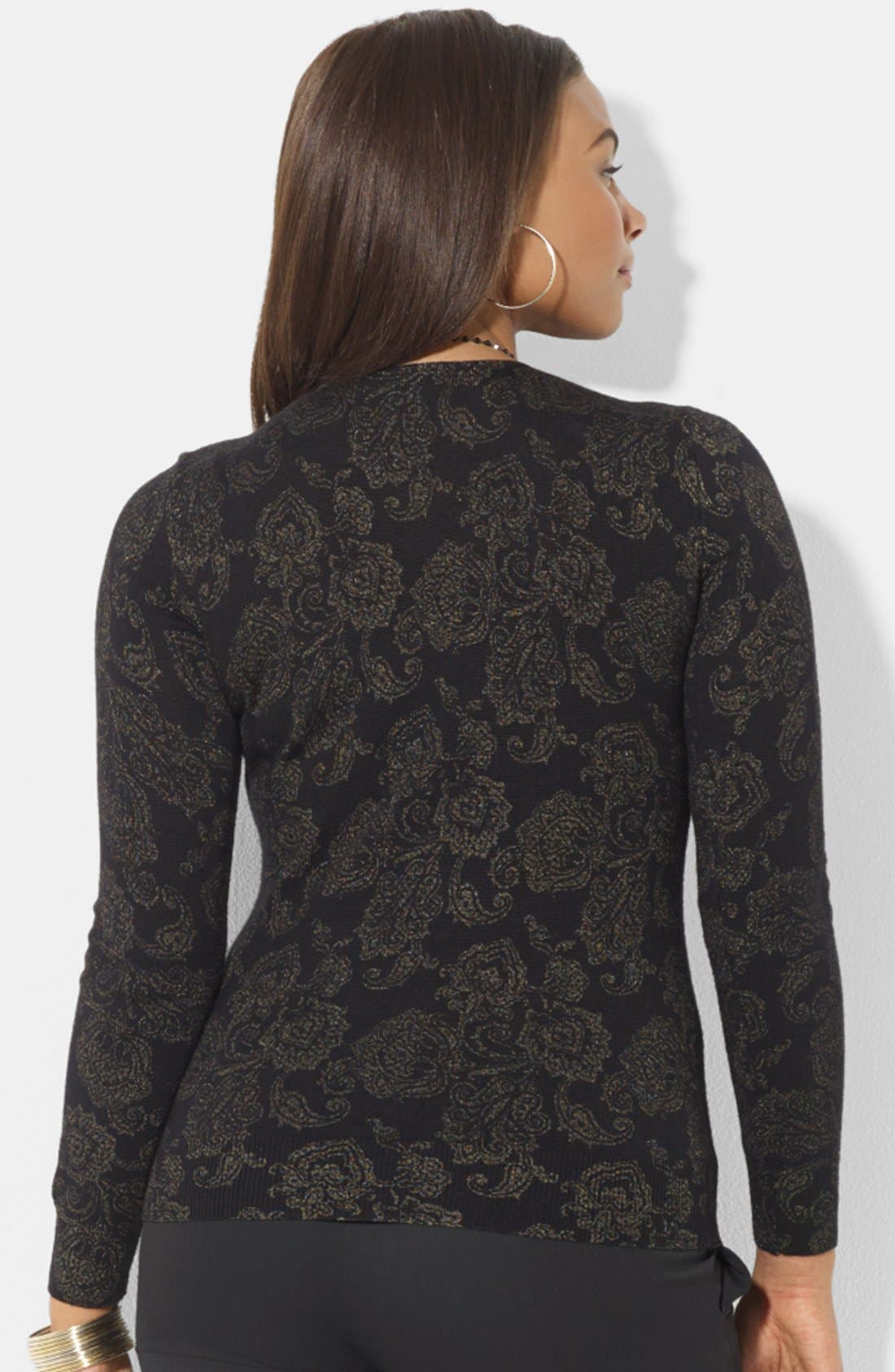 Alternate Image 2  - Lauren Ralph Lauren Print Wool Sweater (Plus Size)