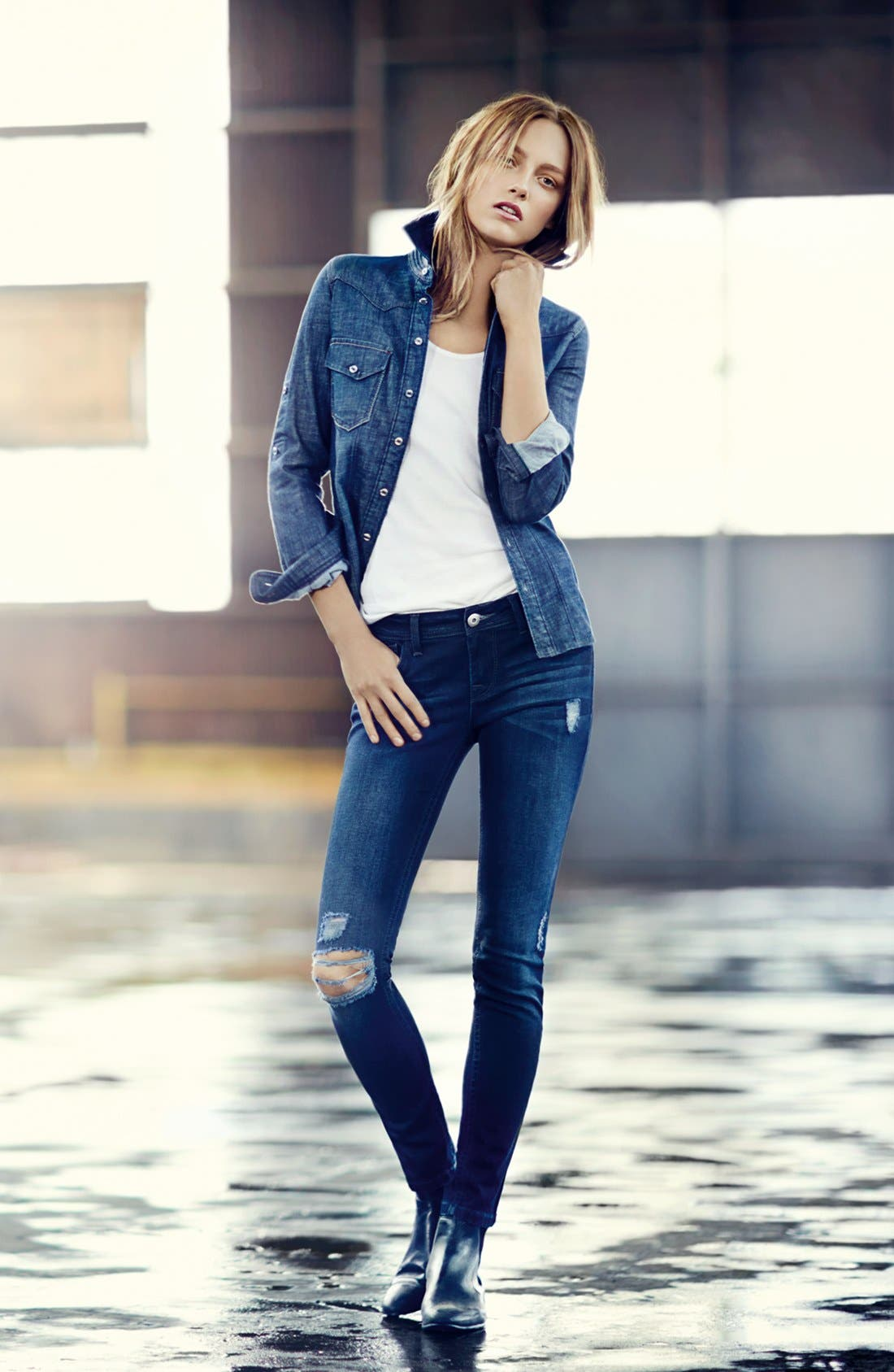 Alternate Image 4  - DL1961 'Amanda' Distressed Skinny Jeans (Seville)