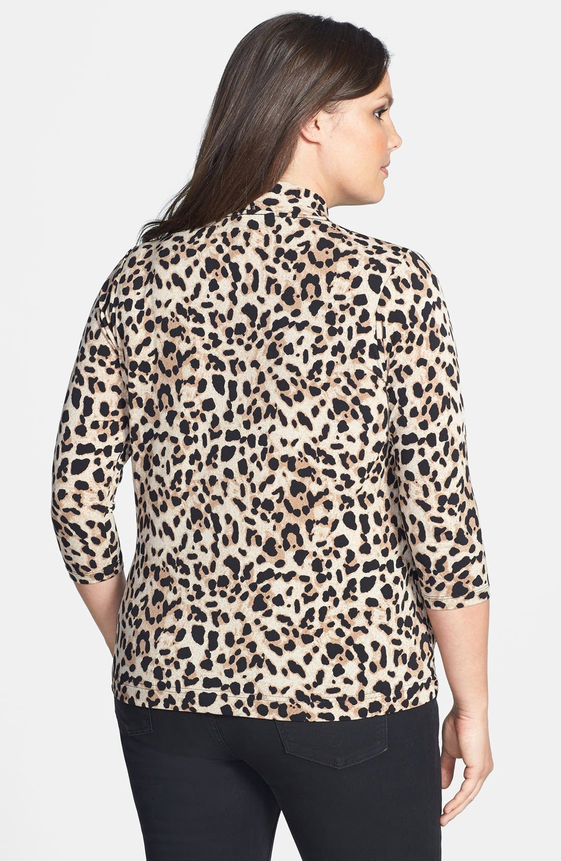 Alternate Image 2  - Vince Camuto Animal Print Faux Wrap Top (Plus Size)