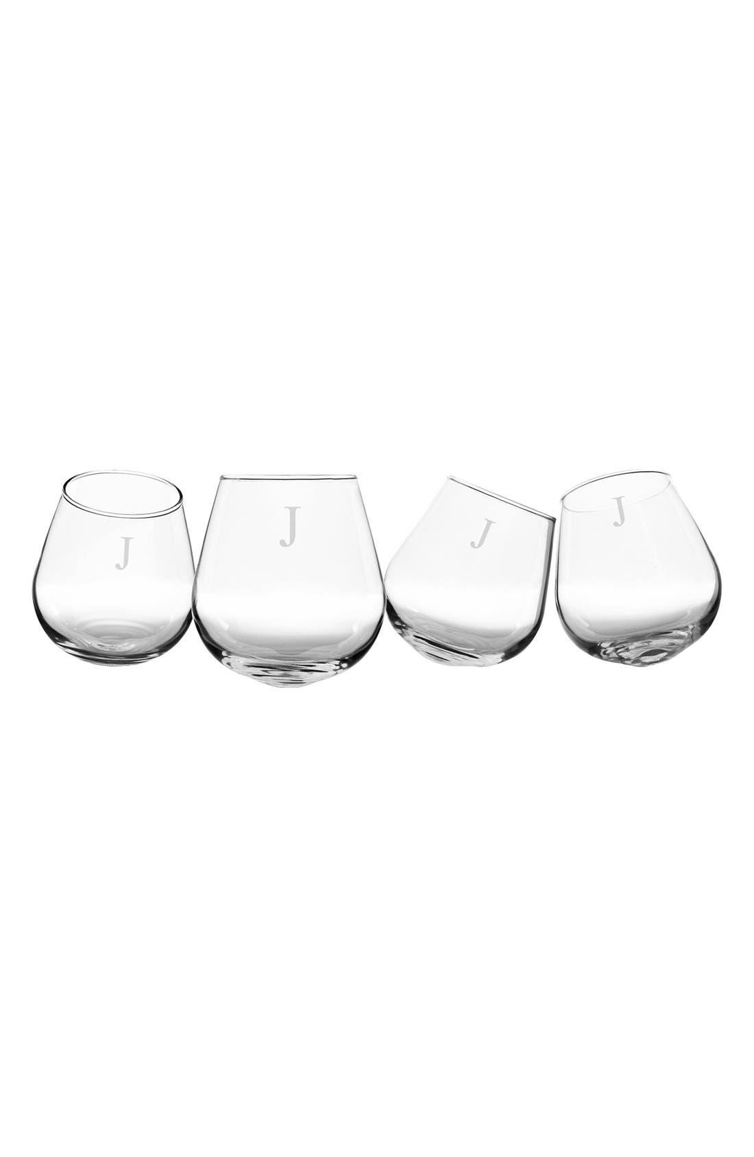Monogram Tipsy Set of 4 Wine Glasses,                         Main,                         color, Clear J