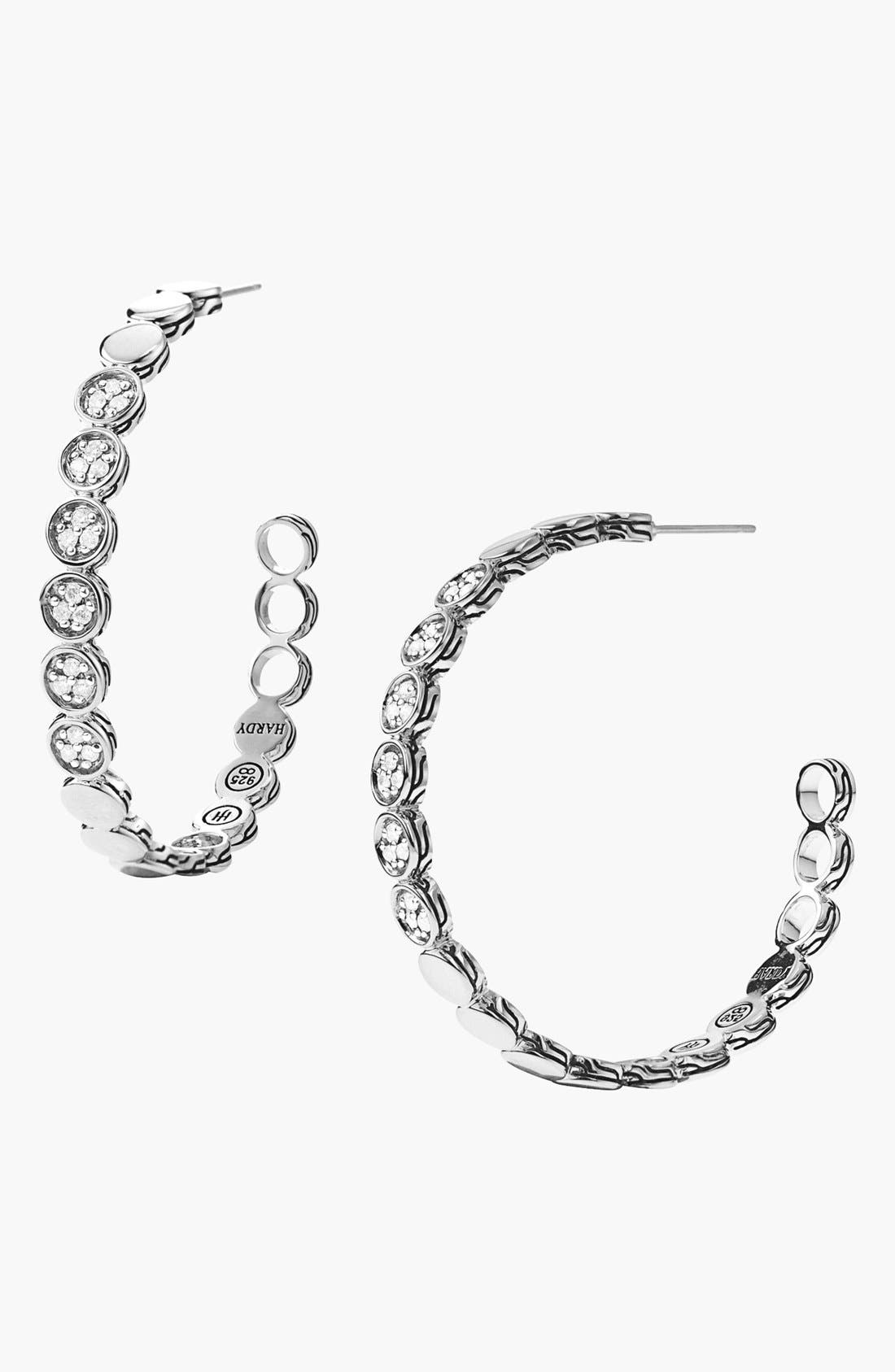 Main Image - John Hardy 'Dot' Large Pavé Diamond Hoop Earrings