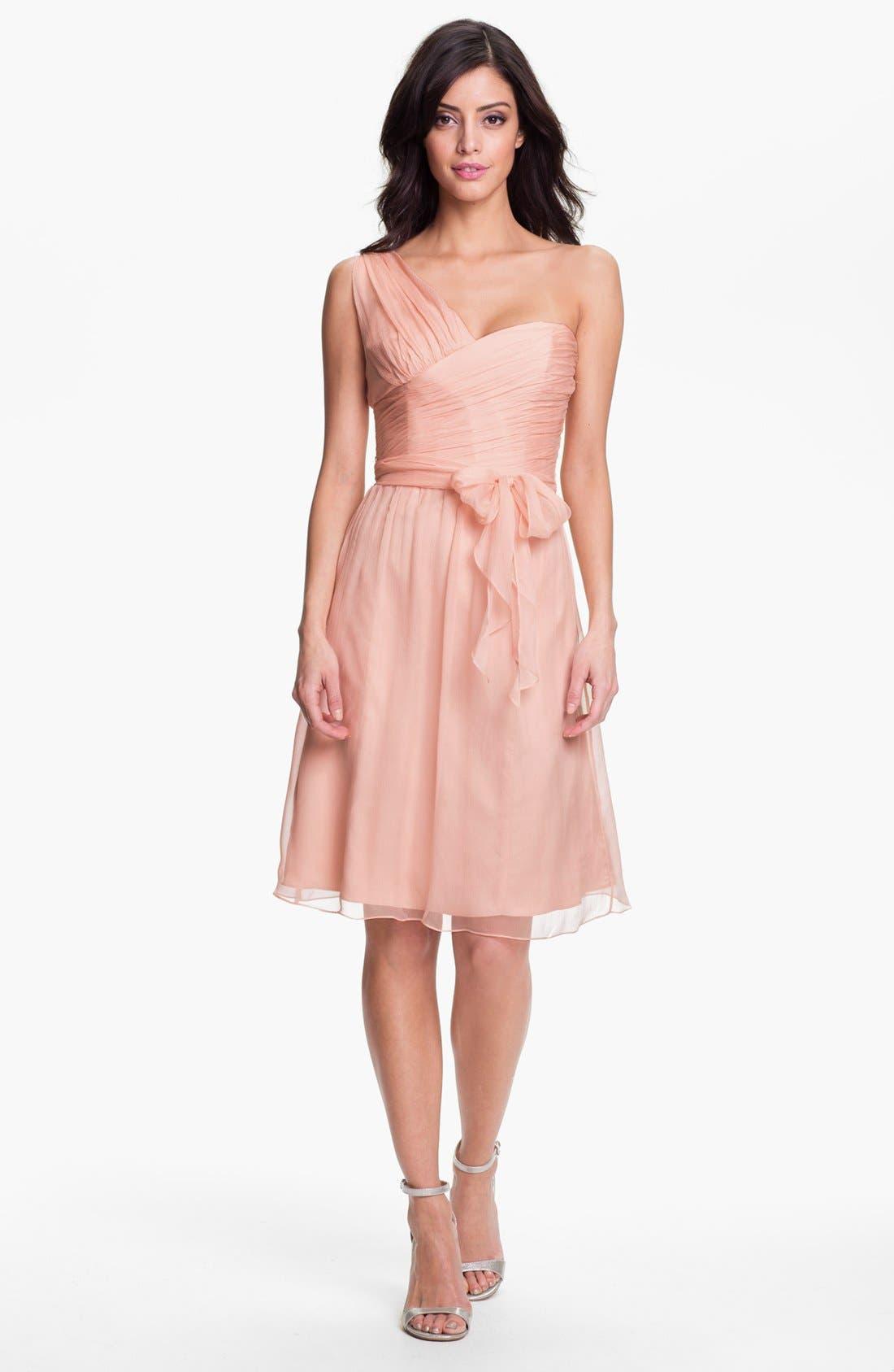 Main Image - Amsale One-Shoulder Crinkle Silk Chiffon Dress
