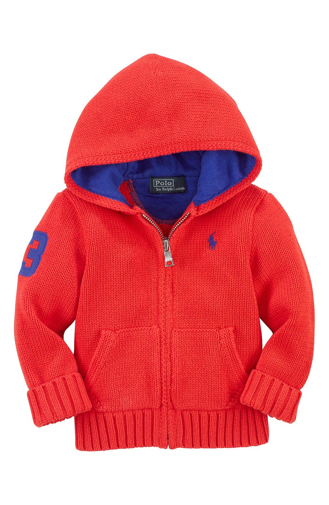 Main Image - Ralph Lauren Combed Cotton Full Zip Hoodie Cardigan (Baby Boys)