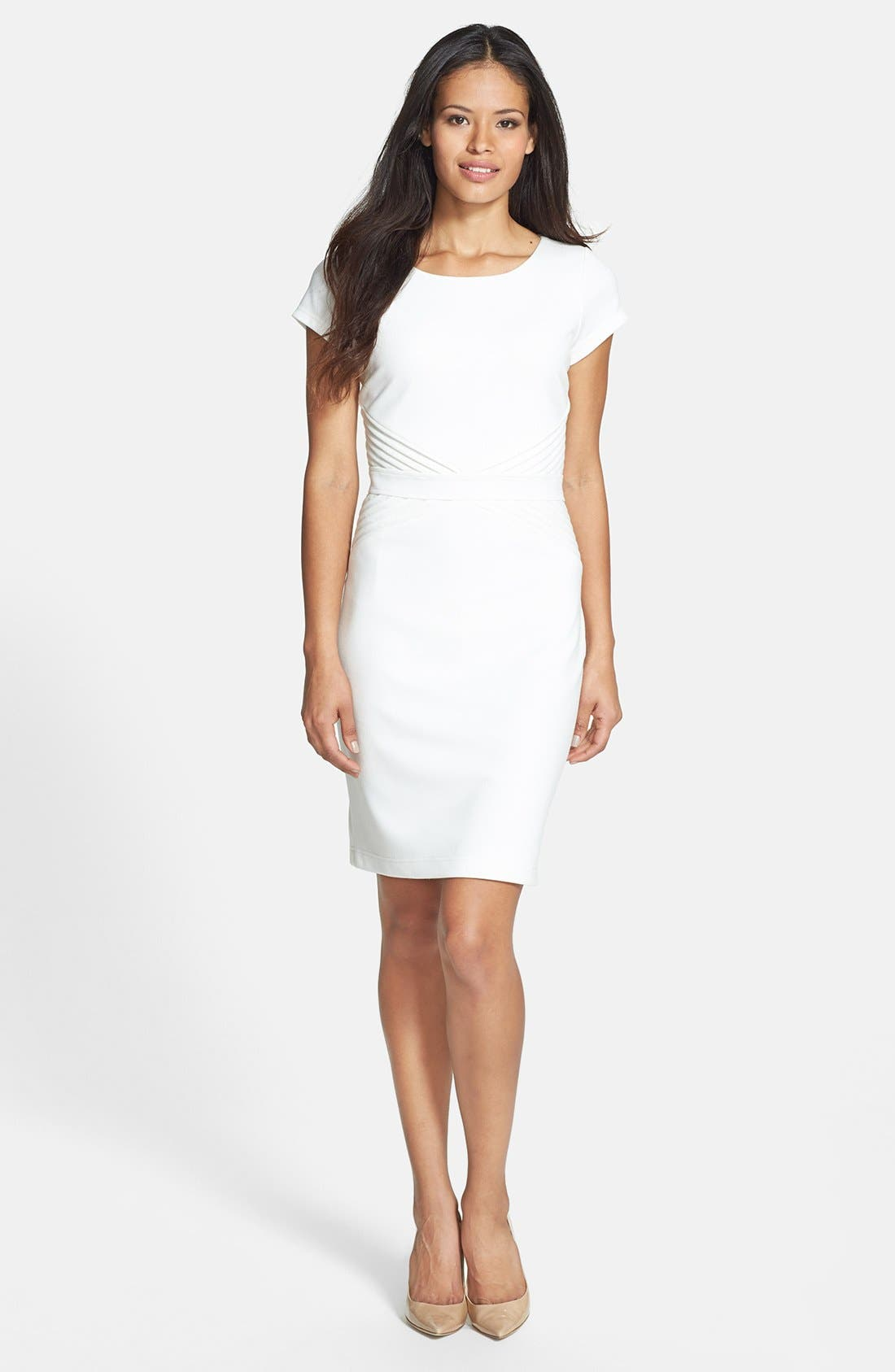 Alternate Image 2  - Ellen Tracy Pleated Waist Ponte Sheath Dress