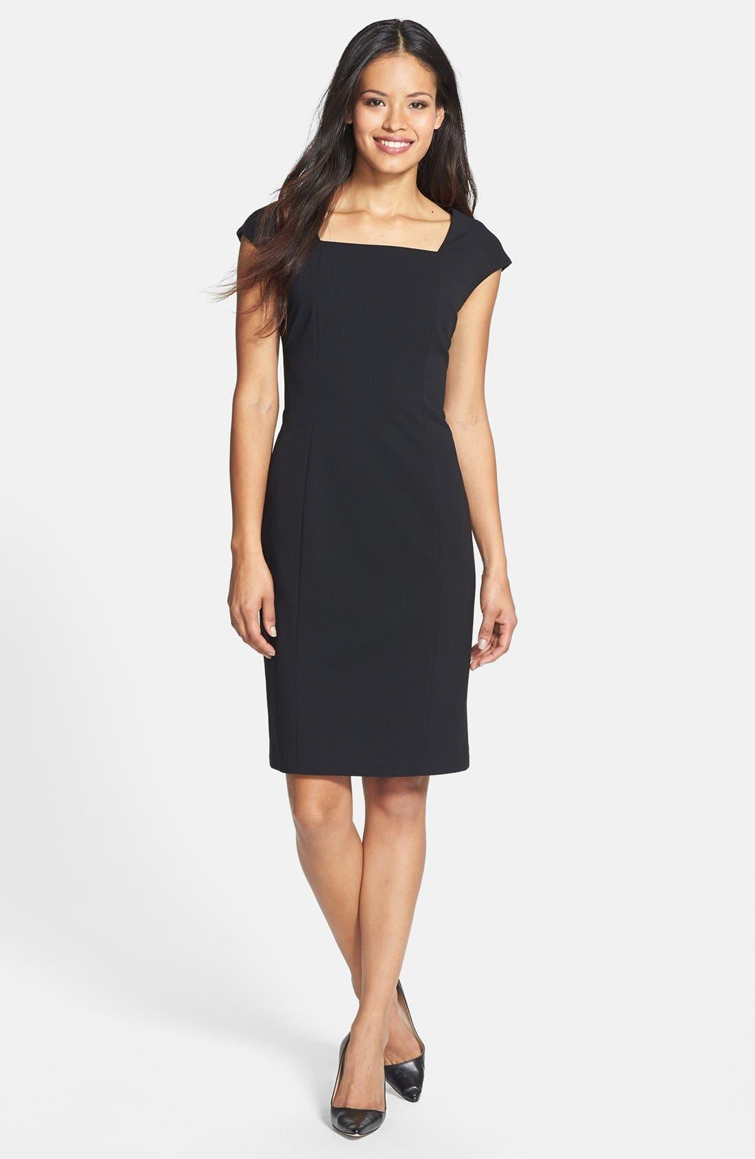 Alternate Image 1 Selected - Lafayette 148 New York Square Neck Knit Sheath Dress