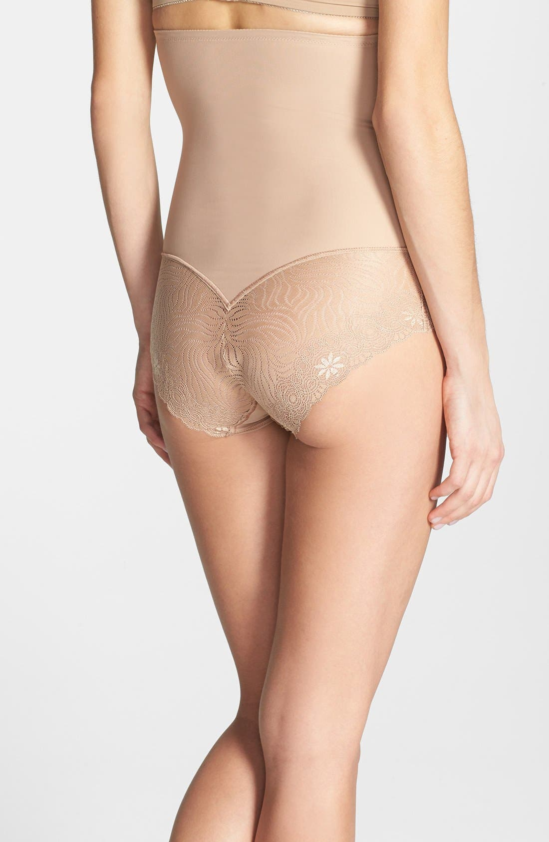 'Top Model' High Waist Shaping Briefs,                             Alternate thumbnail 2, color,                             Nude