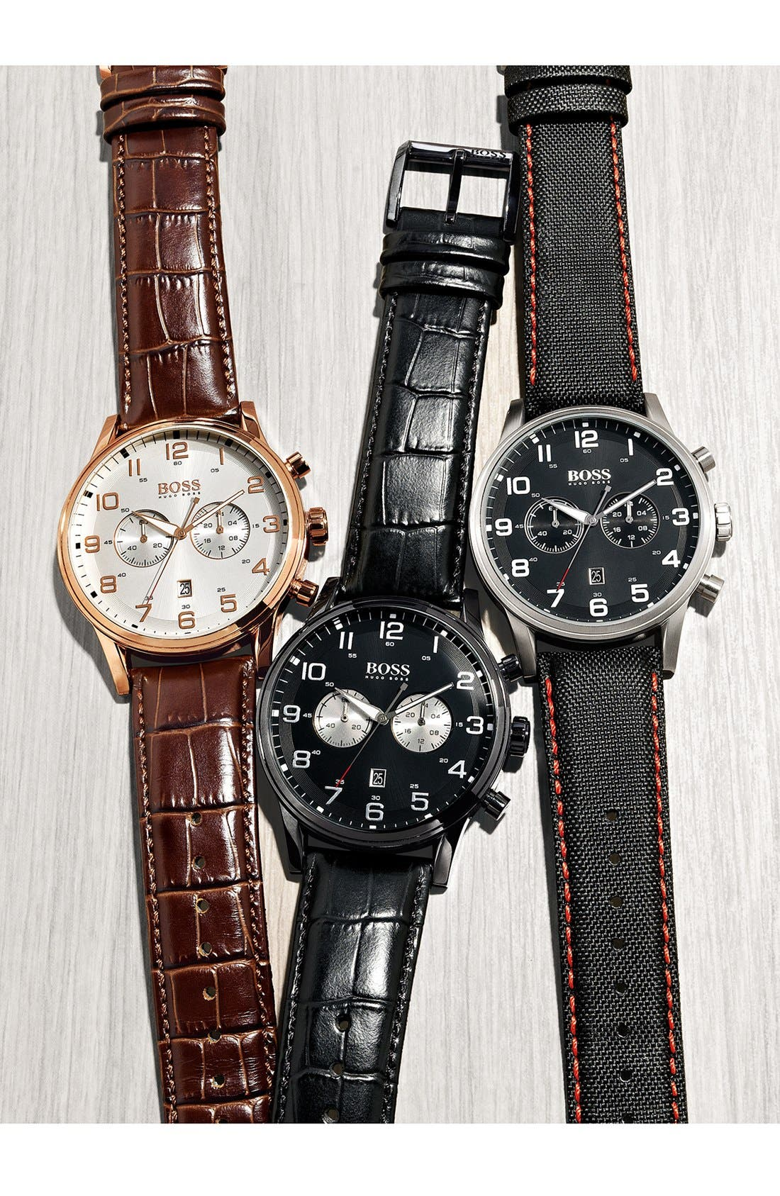 Alternate Image 4  - BOSS Chronograph Textured Leather Strap Watch, 44mm