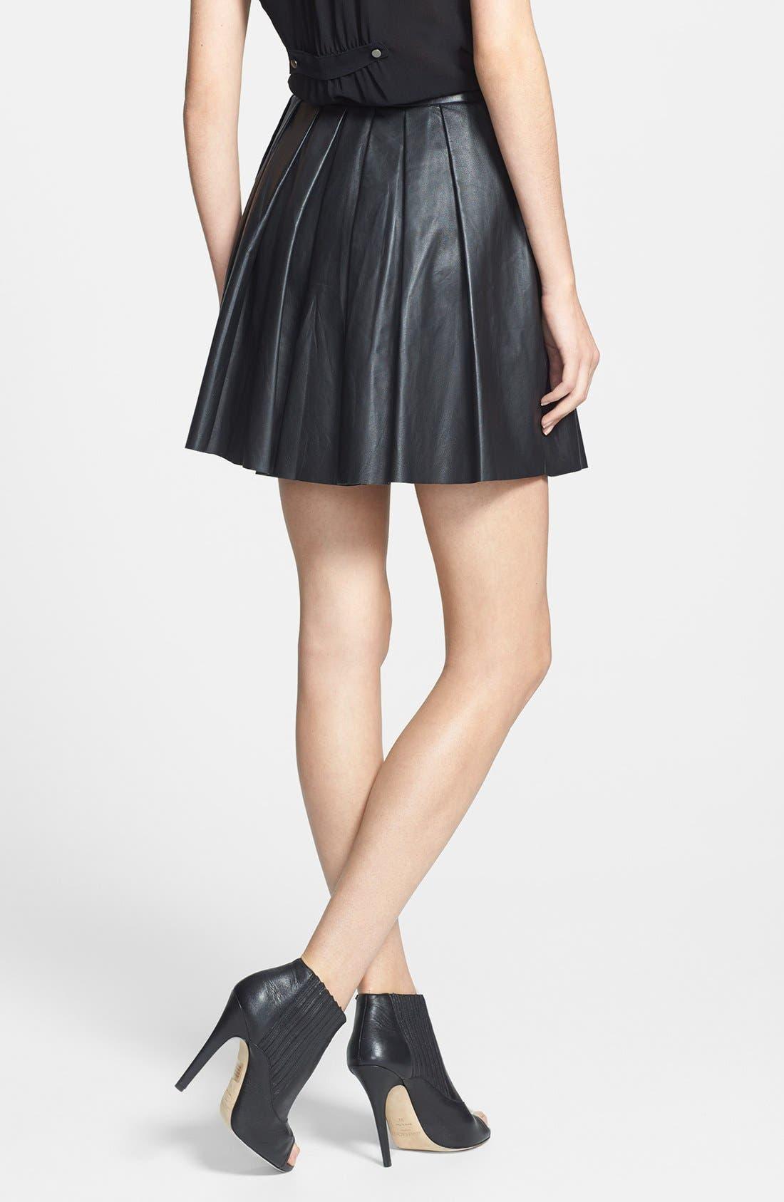 Alternate Image 2  - Nicole Miller Leather Pleat Flared Skirt
