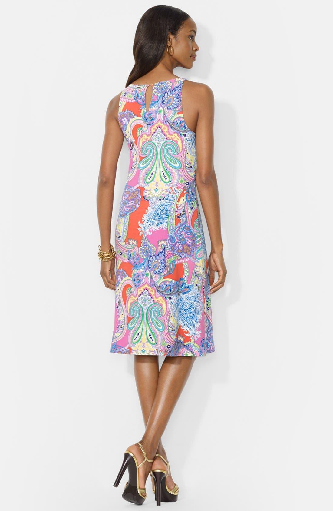 Alternate Image 2  - Lauren Ralph Lauren Paisley Print Sleeveless Crewneck Dress (Petite)