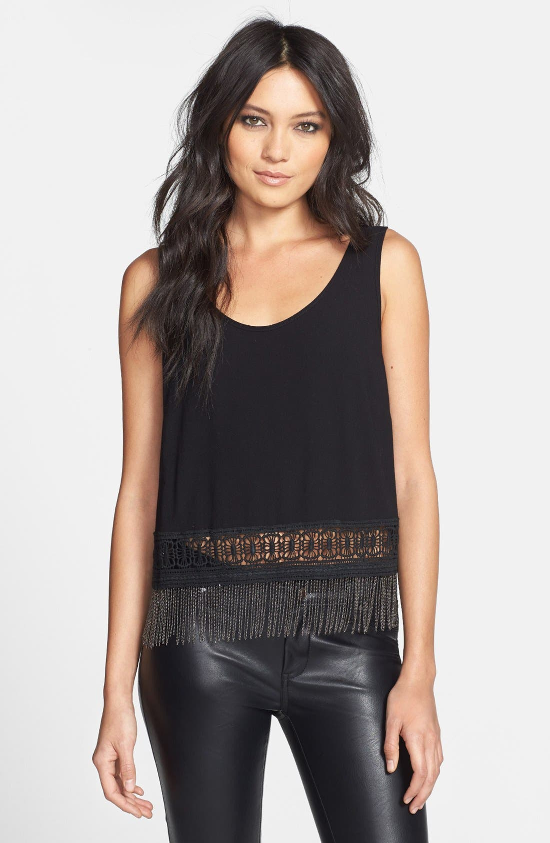 Main Image - ASTR Crocheted Chain Link Hem Tank