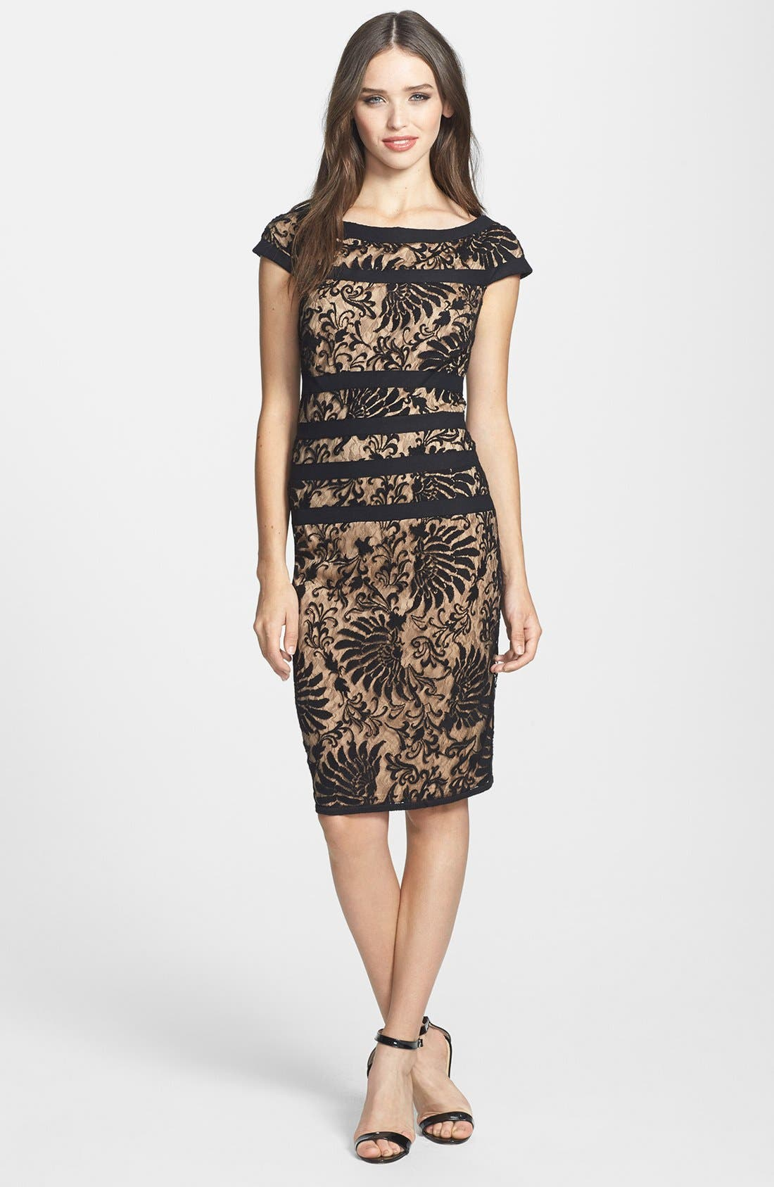 Alternate Image 1 Selected - Tadashi Shoji Embroidered Lace Sheath Dress