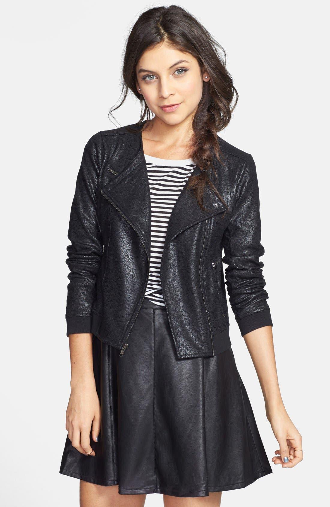 Alternate Image 1 Selected - Frenchi® Coated Knit Moto Jacket (Juniors)