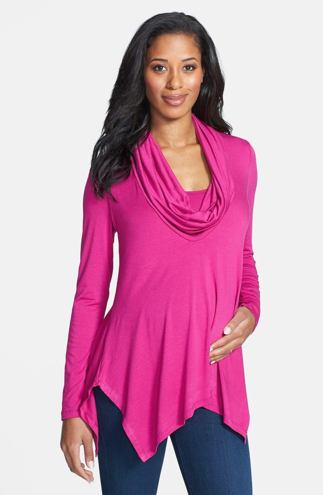 Main Image - Maternal America Cowl Neck Maternity/Nursing Top