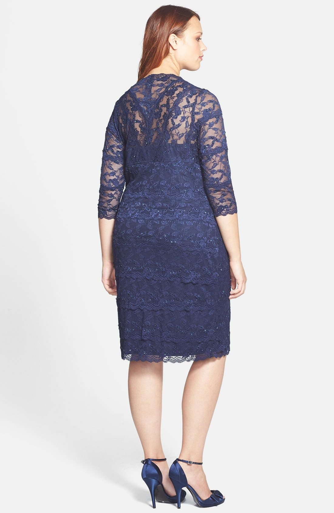 Alternate Image 2  - Marina Embellished Three Quarter Sleeve Lace Dress (Plus Size)