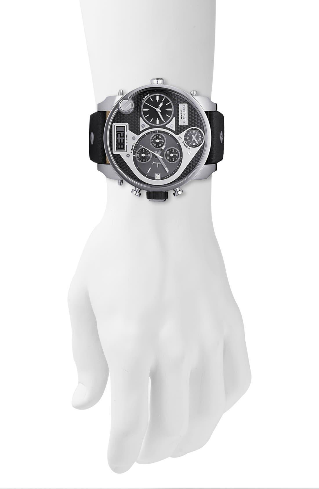 Alternate Image 2  - DIESEL® 'Mr. Daddy' Leather Strap Watch, 58mm